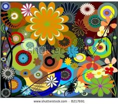 stock vector : Retro foliage, flower and circles are done in vector.