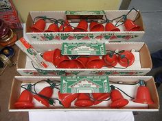 vintage yule glo xmas twinkle lights red plastic bell covers