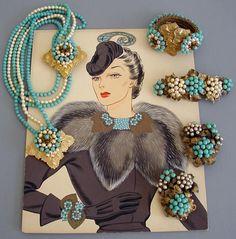 Miriam Haskell - Parure Sautoir Clips 'Lariat' - Métal Doré et Perles Turquoise et Nacre Imitation - Années 40 - Aquarelle Larry Austin