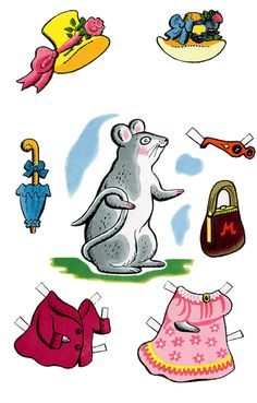 Mrs Mouse and Children Paper Dolls