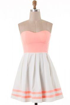 Sweetheart cut color block skater dress
