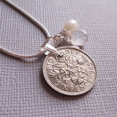 Birthday Gift - Anniversary- 1965 British Sixpence Necklace - Sterling Silver - Lucky Coin Necklace for a Woman Fiftieth Birthday, Moms 50th Birthday, Fifty Birthday, Birthday Ideas, Coin Necklace, Pendant Necklace, Silver Anniversary Gifts, Party Ideas, Gift Ideas