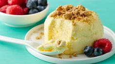 This individual cheesecake can be whipped up in the morning and enjoyed for an after-dinner dessert. Customize as you like with your favorite toppings.