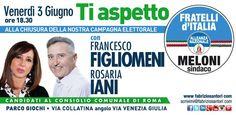 Segnate in agenda, appuntamento importante di chiusura della nostra campagna elettorale, venerdì 3 giugno alle 18.30, vi aspetto! Fabrizio Santori