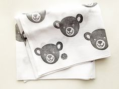 black bear hand stamped cotton gauze hand towel. by talktothesun