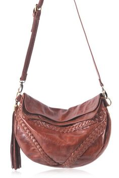 Black leather cross-body bag. Leather bag with braided details. – ELF