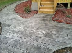 Wood Stamped Concrete Patio Ideas Ideas For 2019 Concrete Patios, Concrete Porch, Flagstone Patio, Brick Patios, Stamped Concrete Designs, Wood Stamped Concrete, Concrete Patio Designs, Stained Concrete, Concrete Stamping