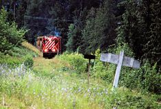 CP, Nakusp, British Columbia, 1983 Northbound Canadian Pacific Railway local freight train at Nakusp, British Columbia, on July 14, 1983. Photograph by John F. Bjorklund, © 2015, Center for Railroad Photography and Art. Bjorklund-38-09-09