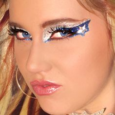 Cowboys Fan Eye Make Up Exotic Eyes DIY Professional Eye Art Blue and Silver * Learn more by visiting the image link. Dallas Cowboys Makeup, Dallas Cowboys Women, Dallas Cowboys Football, Dance Makeup, Kiss Makeup, Glitter Makeup, Makeup Eyes, Cowboy Nails, Competition Makeup