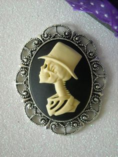 Ivory Skeleton Groom with Top Hat Antique Silver by OctoberPetals, $15.75