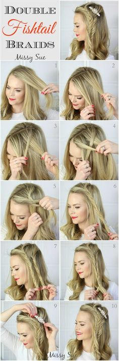 Double Fishtail Side Braids Tutorial: Long Hairstyles Ideas