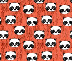 Panda - Coral/Black/White by Andrea Lauren fabric by andrea_lauren on Spoonflower - custom fabric