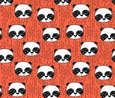 Panda - Coral/Black/White by Andrea Lauren fabric by andrea_lauren on Spoonflower - custom fabric