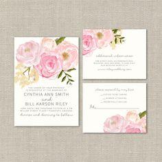 Wedding Invitation Suite DEPOSIT - DIY, Watercolor Floral, Rustic, Boho Chic, Vintage, Country, Invite Kit, Printable (Wedding Design #56)