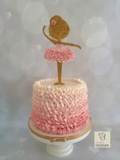 An ombre buttercream ruffle cake, with a gumpaste ballerina for a dance recital! https://www.facebook.com/pages/Oven-Couture-Smallish-Confection-Perfection/239221606110260