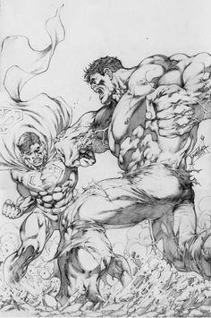 Hulk Superman Battle Part one of 4 , in Jamo's Art's Jose Luis Comic Art Gallery Room Arte Dc Comics, Bd Comics, Hulk Artwork, Arte Dark Souls, Superhero Coloring, Univers Dc, Superman Comic, Marvel Drawings, Comic Drawing