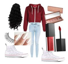 """""""classic"""" by glittersparklediva ❤ liked on Polyvore featuring New Look, Converse, Urban Decay, Smashbox, Trish McEvoy, redwhiteandblue and july4th"""
