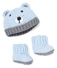 Another great find on #zulily! Blue Bear Crochet Beanie & Bootie Set #zulilyfinds