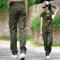 Tom boy-ish style pants... could easily rock these with black sneaker wedges!