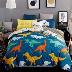 Looking for great DANGTOP 4 Pieces Duvet Cover Set - Ultra Soft Microfiber Bedding Set, Multi-Colored - Cotton Dorm Room Bedding for Students Kids Girls Boys (Dinosaur-Queen) by cheap price? Boys Bedding Sets, Dorm Room Bedding, King Bedding Sets, Duvet Bedding, Cotton Bedding, Dinosaur Bed Set, Dinosaur Bedding, Dinosaur Bedroom, Bed Sets