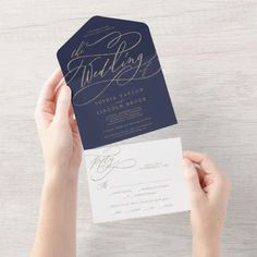 Romantic Gold Calligraphy | Navy The Wedding Of Seal and Send Invite. Click to customize with your personalized details today. Budget Wedding Invitations, Burgundy Wedding Invitations, Wedding Menu Cards, Wedding Rsvp, Wedding Sets, Fall Wedding, Rustic Wedding, Unique Wedding Suites, Address Label Stickers