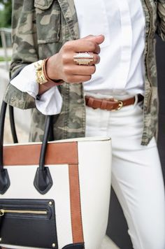 Chic in Camo! Check out this camouflage outfit! Camo, camo outfit, camo jacket, accessories, camel handbag, statement bag, statement ring, white jeans outfit, fashion blogger, dallas fashion blogger, women fashion #dallasfashionblogger #springfashion #layers #ootd