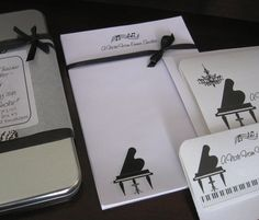 """Music Teacher Stationery Personalized Gift Set  """"Grand Piano"""" - Note Cards, Envelopes, Paper Pad in reusable Silver Tin. $20.00, via Etsy."""