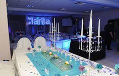 Centro de mesa candelabros y velas flotantes