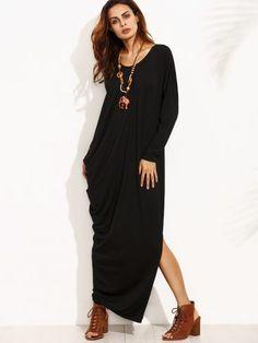 Black Split Side Long Sleeve Asymmetrical Maxi Dress