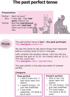 The past perfect tense        Repinned by Chesapeake College Adult Ed. We offer free classes on the Eastern Shore of MD to help you earn your GED - H.S. Diploma or Learn English (ESL).  www.Chesapeake.edu