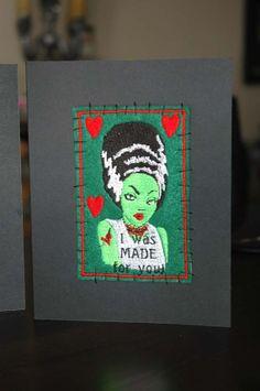 Bride of Frankenstein Valentines Card Horror by pixiefashions, $10.00