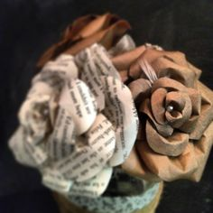 Recycled Paper Flower Bouquet  Paper Bag Books by BeHandmaiden, $55.00