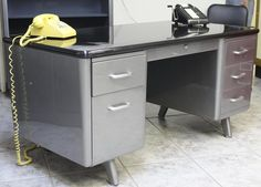 Retro Office Vintage American Steel Furniture Specializes In Vintage Steel  Desks And AllSteel Equipment Arch Leg Tanker Desks