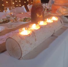 Birch Log Votive Light Candle Holder Wedding Home Decor Table Centerpiece Wood Reception Decor Holiday by BirchHouseMarket on Etsy https://www.etsy.com/listing/160387146/birch-log-votive-light-candle-holder