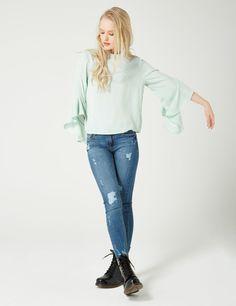 blouse manches à volants vert d eau - http   www.jennyfer 390c9071536