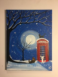 Whats this - 9 x 12 Cats an dog next to a red phone Box, ready to hang, by Michael H. Prosper by MichaelHProsper on Etsy Love Painting, Painting & Drawing, Original Art, Original Paintings, Illustration Art, Illustrations, Xmas Tree, Paintings For Sale, Custom Paint