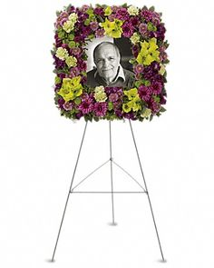 Mosaic of Memories Square Easel Wreath in Conroe TX - Gilmores Florist & Gifts Casket Flowers, Funeral Flowers, Funeral Floral Arrangements, Flower Arrangements, Funeral Sprays, Casket Sprays, Funeral Tributes, Memorial Flowers, Funeral Memorial