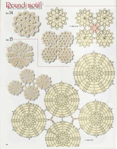 free pattern charts - many circular motifs, enlarged they are a little difficult to read but an intermediate could guess well