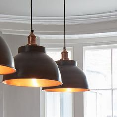 Brooklyn Vintage Metal Dome Pendant Light – Dark Pewter & Copper – - All For Decoration Kitchen Island Lighting, Kitchen Lighting Fixtures, Kitchen Pendant Lighting, Kitchen Pendants, Glass Pendant Light, Light Fixtures, Kitchen Ceiling Lights Modern, Hanging Kitchen Lights, Farmhouse Style Kitchen