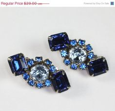 Weekend Madness Sale Dark and Light Blue Rhinestone Earrings Clip Style Vintage