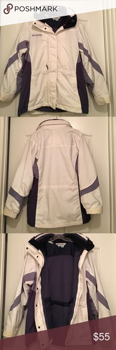 White and purple Columbia jacket Two coats in one. Outer coat is white and purple. Has hood and is great for winter. Also has a zip in purple fleece. Columbia Jackets & Coats Puffers