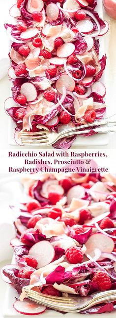 Radicchio Salad with Raspberries, Radishes, Prosciutto, and Raspberry Champagne Vinaigrette | The array of flavors, textures and gorgeous shades of pink and red make this salad irresistible! #PureDelicious