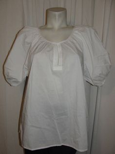TALBOTS Womens Petites Sz 1XP White Stretch Cotton Peasant Blouse Shirt Top #Talbots #Blouse #Casual