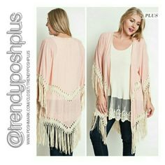 """Trendy Tunic w/ Lace & Cardigan Set Bundle Special 2 Piece Set exactly as shown in photos. Premium quality fabric!  XL - Armpit to armpit 48"""" Blush color trendy cardigan 60%Cotton 40 % Polyester  Off white color ribbed tank tunic with lace trim 65% Cotton 35% Polyester Sweaters Cardigans"""