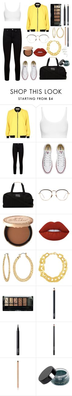 """Kerenski"" by anissa2208 ❤ liked on Polyvore featuring River Island, Helmut Lang, Paige Denim, Converse, 321, Linda Farrow, Too Faced Cosmetics, Lime Crime, Fragments and Stephanie Kantis"