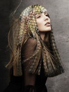 Unique High Fashion Hairstyle this hair style is quite high fashion and has a feather like effect