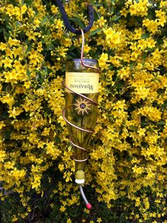 Upcycled Hummingbird Feeder Wine Bottle Mirassou
