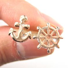 Small Anchor and Wheel Nautical Stud Earrings