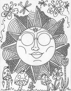 Hippie Custom Coloring Book coloring book pages by DawnCollinsArt, $10.00