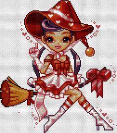 Halloween brujita en punto de cruz www.nacaranta.com